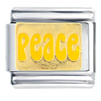 Italian Charms - peace in yellow italian charms bracelet link Image.