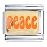 Italian Charms - orange peace words &  phrases italian charm Image.