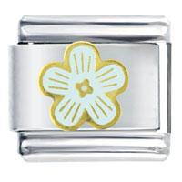 Italian Charms - golden italian charm bracelet white tone flower Image.