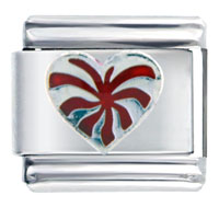 Italian Charms - silver tone red heart italian charm bracelet Image.
