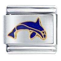 Italian Charms - navy blue dolphin italian charm fish Image.