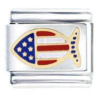 Italian Charms - usa flag fish animal italian charm bracelet link Image.