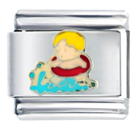 Italian Charms - young boy swimming italian charms bracelet link Image.