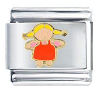 Italian Charms - girl in orange overalls italian charms bracelet link Image.