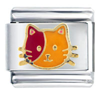 Italian Charms - orange red cat italian charms Image.