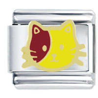 Italian Charms - animal yellow and red cat italian charms bracelet link Image.