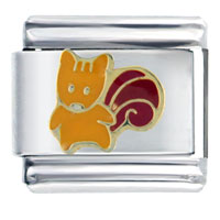 Italian Charms - orange squirrel animal italian charms Image.