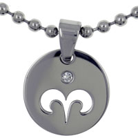 "relation - aries horoscope zodiac sign stainless steel medallion necklace  18"" Image."