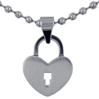 Necklace & Pendants - heart lock stainless steel necklaces pendant for men Image.