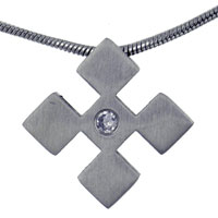 Clearance Jewelry - men' s stainless steel checkers with crystal cz pendant necklace Image.