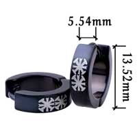 Stainless Steel Jewelry - men' s staineless steel hinged hoop earrings double coptic celtic cross black earrings Image.