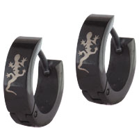 Stainless Steel Jewelry - mens stainless steel black lean lizard party styles spooky earrings Image.