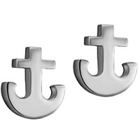 Earrings - anchor stainless steel mens hoop earrings Image.