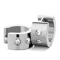 Earrings - men' s staineless steel hinged hoop earrings little circle double clear rhinestone hoop earrings Image.