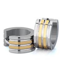Earrings - men' s staineless steel hinged hoop earrings little circle triple grooves hoop earrings Image.