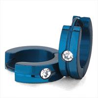 Earrings - men' s staineless steel hinged hoop earrings blue little circle clear rhinestone crystal hoop earrings Image.