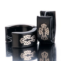 Earrings - men' s staineless steel hinged hoop earrings black cuciate flower hoop hinged earrings Image.