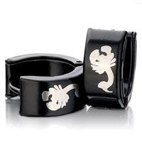 Earrings - men' s staineless steel hinged hoop earrings mothers day gifts black silver scorpion hoop hinged earrings Image.