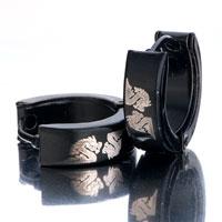 Earrings - men' s staineless steel hinged hoop earrings black dragon hoop hinged earrings Image.
