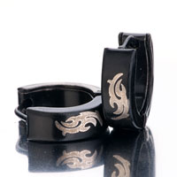 Earrings - men' s staineless steel hinged hoop earrings black swallow hoop hinged earrings Image.