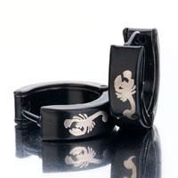 Earrings - men' s staineless steel hinged hoop earrings black white scorpion hoop hinged earrings Image.