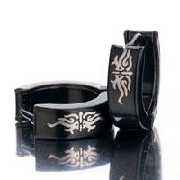 Earrings - men' s staineless steel hinged hoop earrings black white abstract symbol hoop hinged earrings Image.