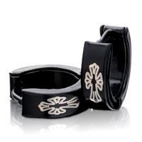 Earrings - men' s staineless steel hinged hoop earrings black cuciate flower hoop hinged earrings Image.