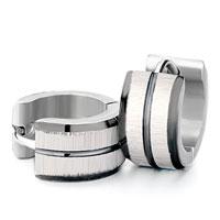 Earrings - men' s staineless steel hinged hoop earrings most circle black edges groove hoop earrings Image.