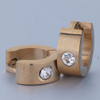 Earrings - men' s staineless steel hinged hoop earrings most golden circle clear rhinestone crystal hoop earrings Image.