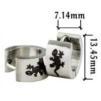 Stainless Steel Jewelry - men' s staineless steel hinged hoop earrings lizard hoop earrings Image.
