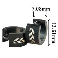 Stainless Steel Jewelry - men' s stainless steel black graph hinged hoop earrings Image.