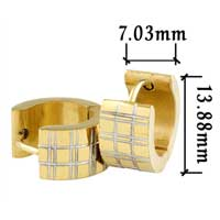 Stainless Steel Jewelry - men' s staineless steel hinged hoop earrings golden lattice hoop earrings Image.