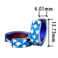 Stainless Steel Jewelry - men' s staineless steel hinged hoop earrings blue spacer feather hoop earrings Image.