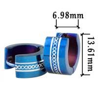 Stainless Steel Jewelry - men' s staineless steel hinged hoop earrings blue round hoop earrings Image.