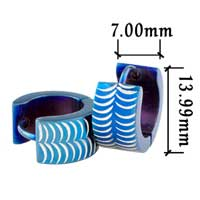 Stainless Steel Jewelry - men' s staineless steel hinged hoop earrings blue scales hoop earrings Image.