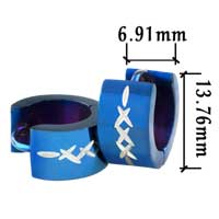 Stainless Steel Jewelry - men' s staineless steel hinged hoop earrings blue siver hoop earrings Image.