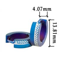 Stainless Steel Jewelry - men' s stainless steel blue spacer round hinged hoop earrings Image.