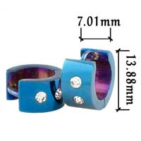 Stainless Steel Jewelry - men' s staineless steel hinged hoop earrings blue earrings with clear crystal Image.