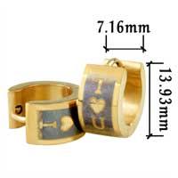 Stainless Steel Jewelry - men' s staineless steel hinged hoop earrings fathers day golden heart hoop earrings Image.