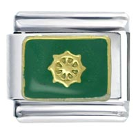 Italian Charms - nautical wheel green italian charms Image.