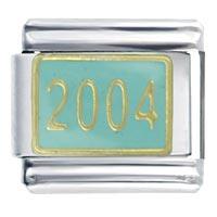 Italian Charms - golden italian charm bracelet 2004  aqua graduation Image.