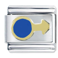Italian Charms - blue circle and arrow italian charms Image.