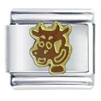 Italian Charms - brown cow spring fashion jewelry italian charm Image.