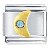Italian Charms - golden italian charm bracelet moon with blue crystal Image.