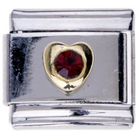 Italian Charms - garnet red crystal heart birthstone italian charms for bracelets Image.