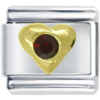 Italian Charms - january garnet color birthstone heart italian charm bracelet Image.