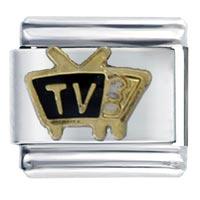 Italian Charms - black tv italian charms bracelet link Image.