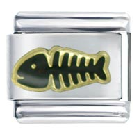 Italian Charms - halloween fish skeleton italian charms Image.