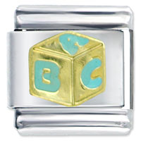 Italian Charms - jewelry blue alphabet golden dice a b c italian charms for bracelets Image.