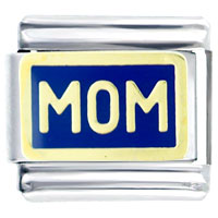 Italian Charms - mom in blue italian charms bracelet link Image.